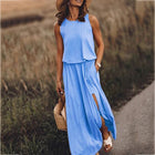 Holiday Solid Color Round Neck Dresses