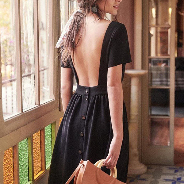 Round Neck Open Back Button Dresses