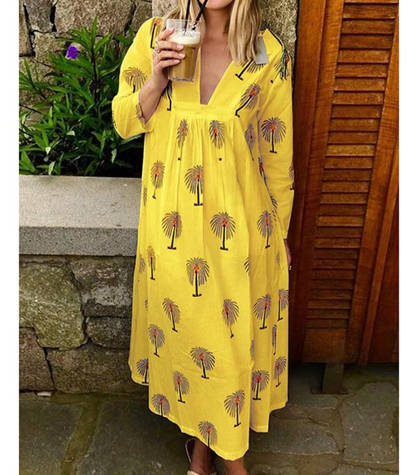Long Sleeve Casual Print Women Dresses