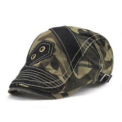 2f21510d1 Men Pure Color Camouflage Patchwork Beret Caps Outdoor Visor Peaked ...