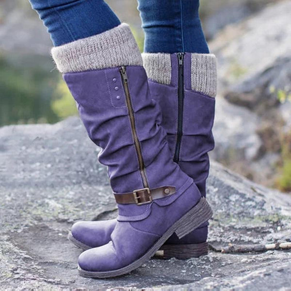 Casual Winter Knitted Zipper Mid Calf Boots