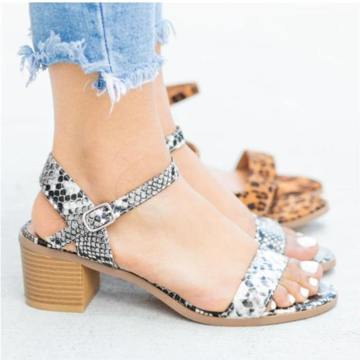 Women Ladies Fashion Buckle Square Heel Casual Shoes Sandals