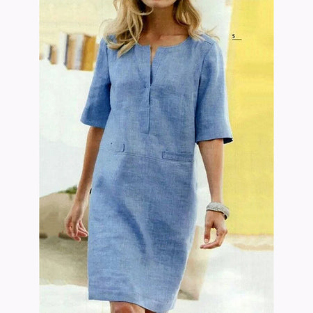 Casual Solid Color Loose V-Neck Dress