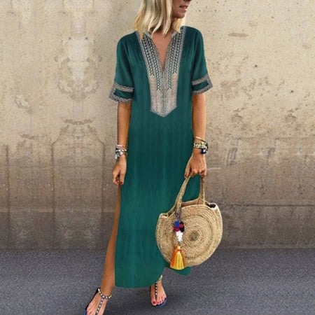 Basic Solid Slit Summer Dress