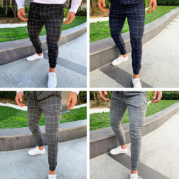 Men's Business Lattice Slim Pants