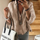 3/4 Sleeve Solid Color Loose Blouses