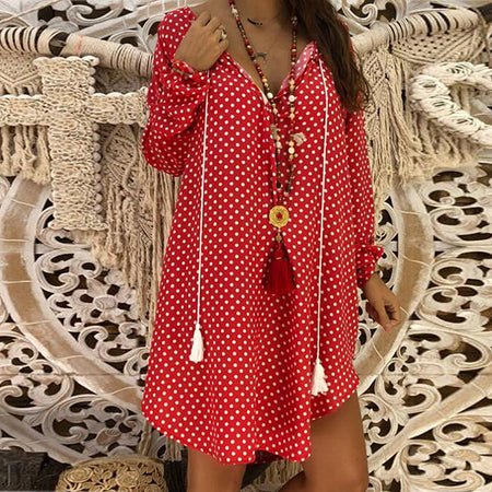 Fashion Long Sleeve V-Neck Dot Dress
