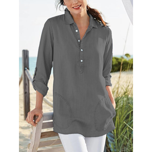 Solid Long Sleeve V Neck Buttoned Blouses