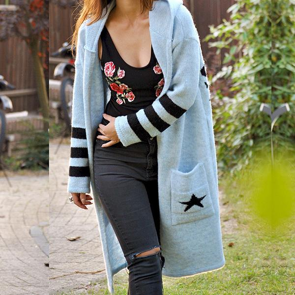 Long Sleeve Printed Sweater Coats