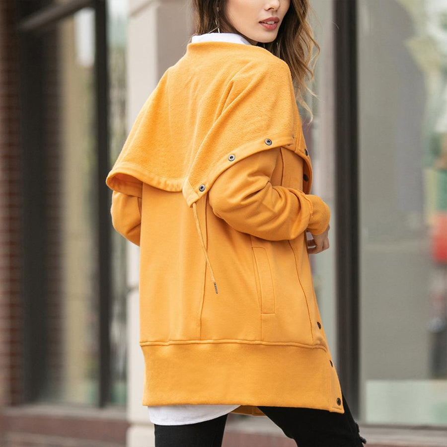 Casual Solid Buckle Hoodie Coats