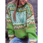 Printed Stitching Round Neck Sweater