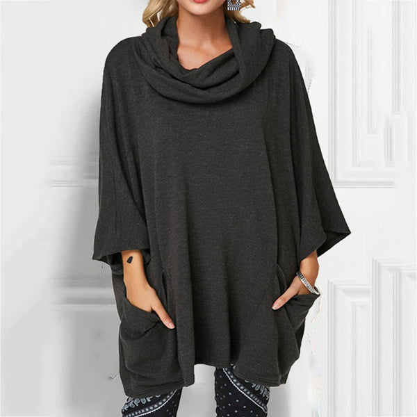Casual Solid Color Cowl Neck Tops