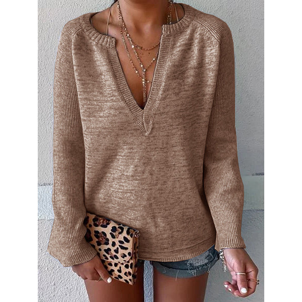Daily Solid Color V-Neck Long Sleeve Sweater