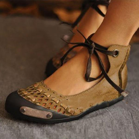 Vintage Hollow Lace-Up Sandals