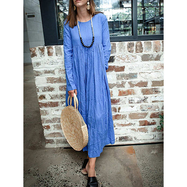 Women's Simple Solid Color Long-Sleeve Maxi Dress