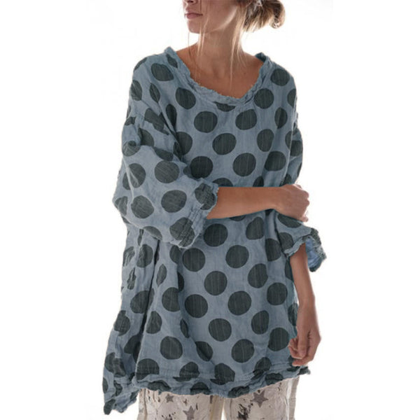 Polka Dot Printed 3/4 Sleeve Round Neck Tops