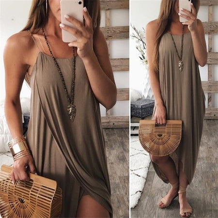 Casual Solid Color Sling Knit Dress