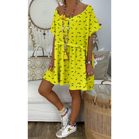 Loose Round Neck Printed Splice Dress