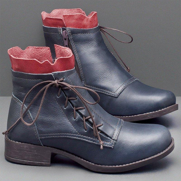 Lace-Up Low Heel Fashion Ankle Boots