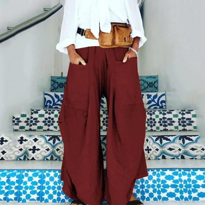 Casual Plus Size Pockets Loose Pants