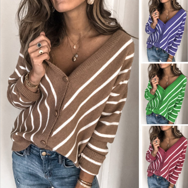 Women's V-neck Contrast Striped Sweaters