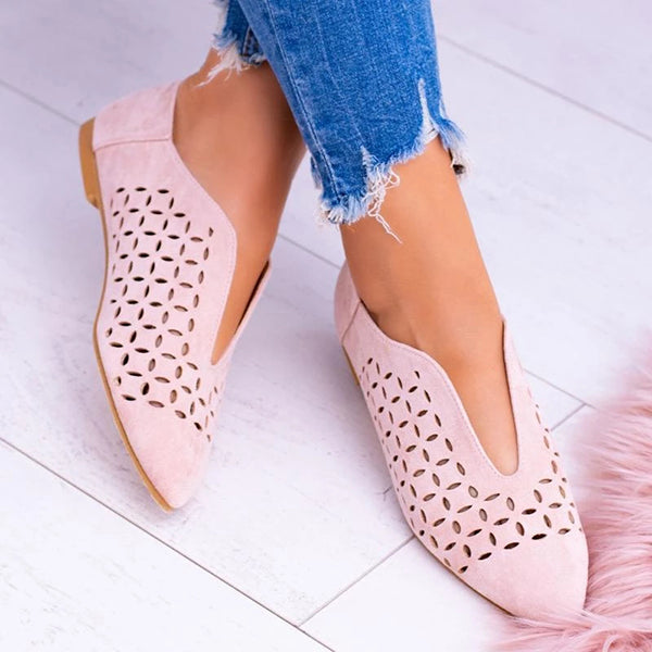 Casual Pointed Toe Hollow Flat Sandals