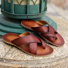 Men's Vintage Leather Cross Strap Slippers