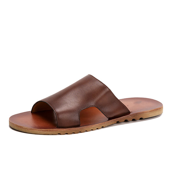 Men's Fashion Leather Simple Slippers
