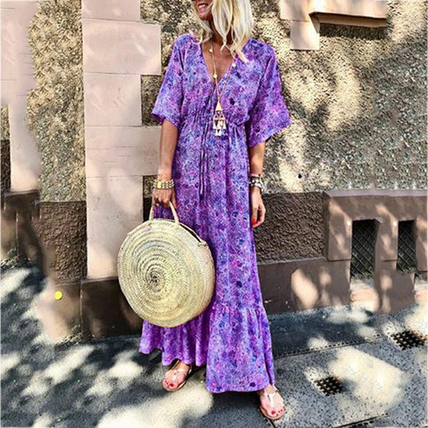 Summer V Neck Fashion Printed Holiday Dress