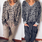 Autumn Leopard Printed V-Neck Blouses