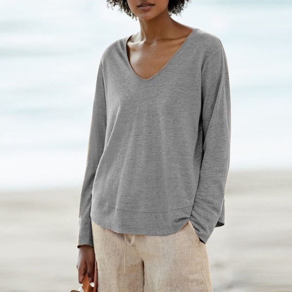 Daily V-Neck Solid Color Long-Sleeved T-Shirt