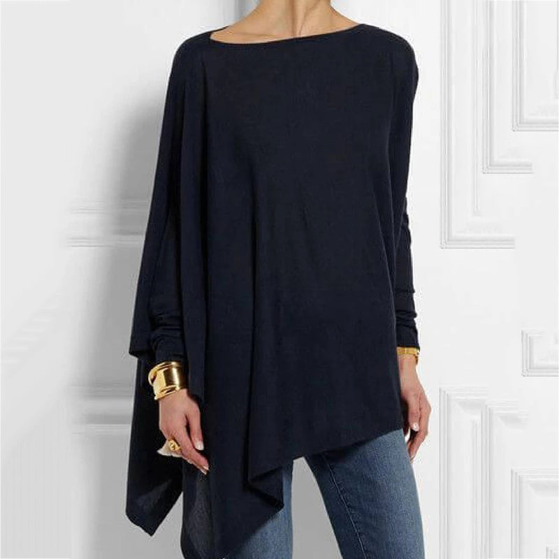 Casual Round Neck Long Sleeve Tops