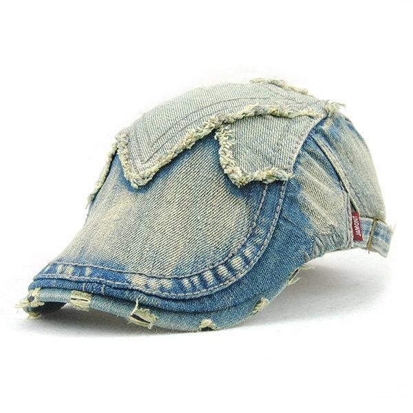 Casual Cotton Denim Beret Cap Sunshade Visor Peaked Cap