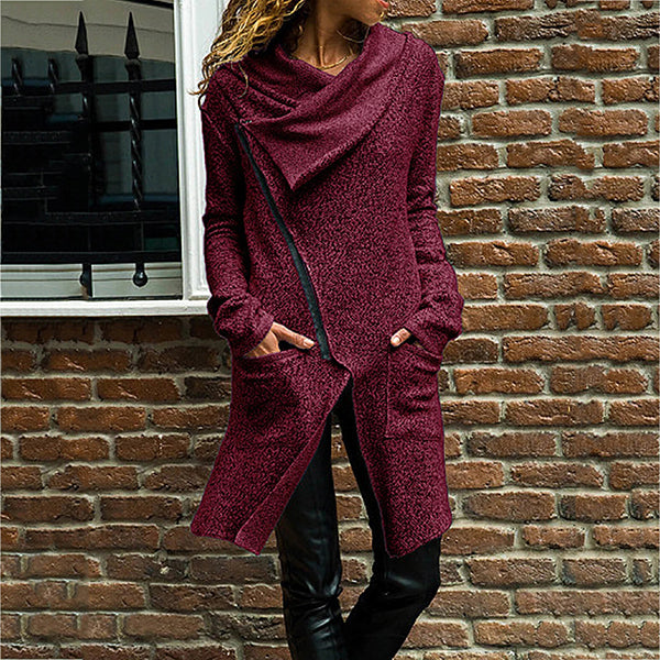 Autumn Zipper Long Fluffy Sweatshirt