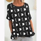 Daily Fish Bone Print Short Sleeve Blouse