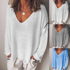Simple Autumn V-neck Long Sleeve Tops