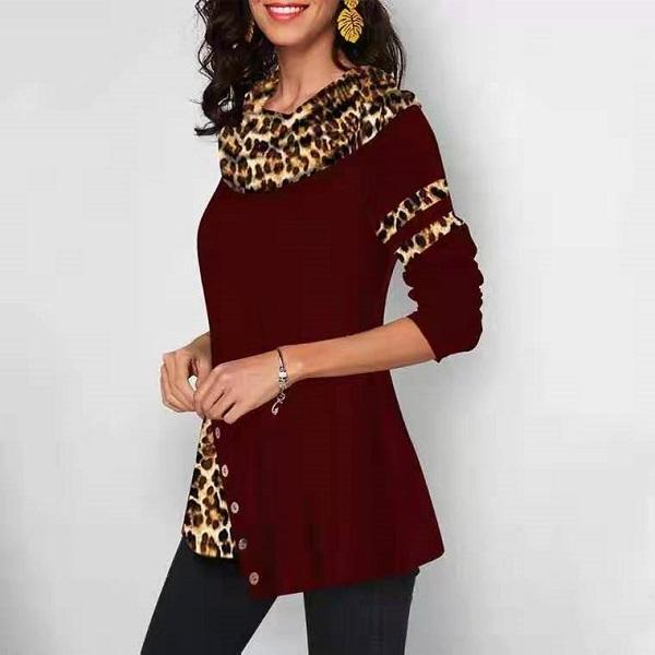 Long Sleeve Leopard Bottoming Blouses