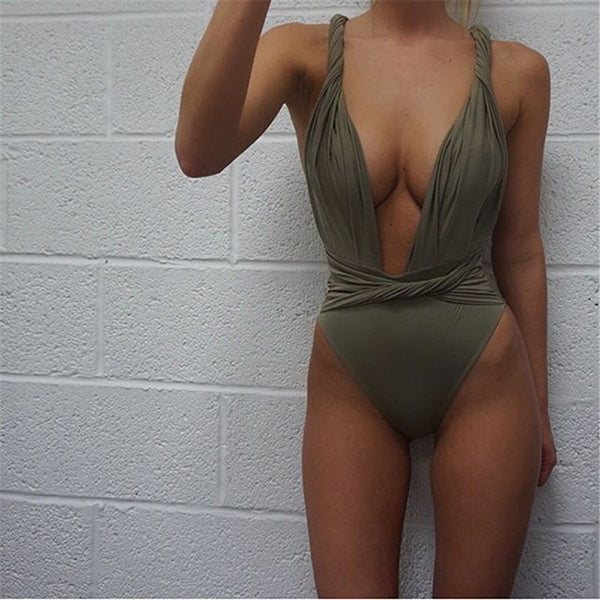 Sexy Deep V Twisted Backless Solid Color Swimsuits