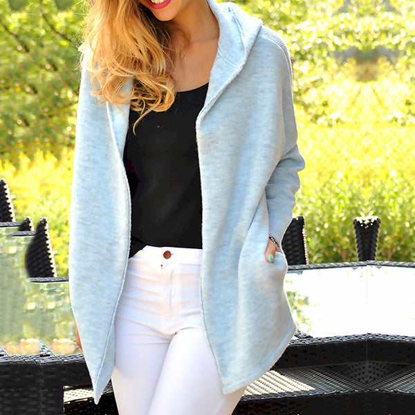Solid Color Patchwork Casual Women Coats