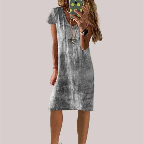 Short Sleeve V-Neck Gradient Dress