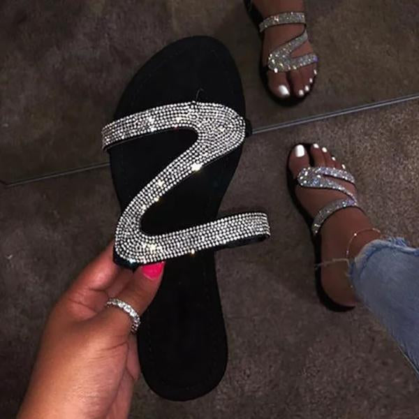 Casual Shiny Embellished Toe Post Slippers