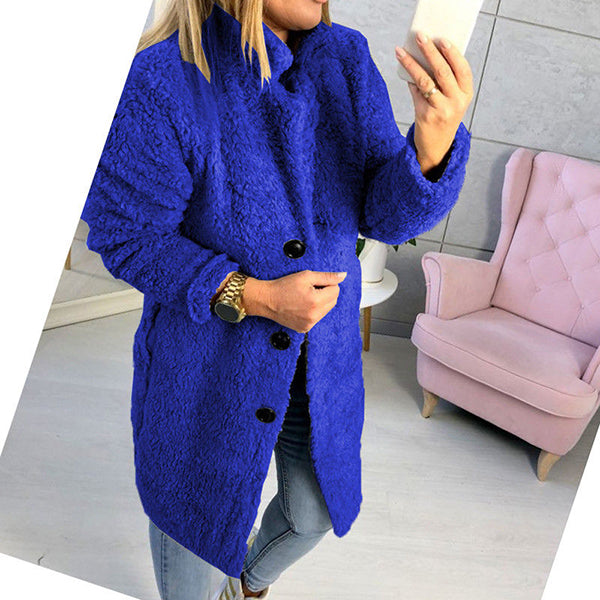 Warm Buttoned Long Sleeve Coats