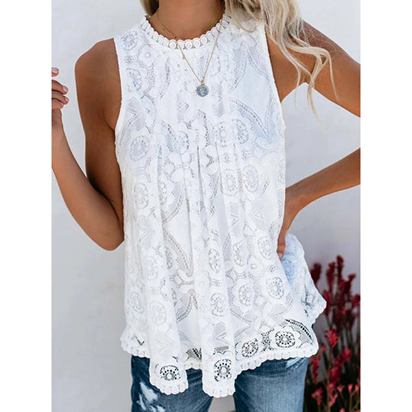 Casual Lace Sleeveless Round Neck Top