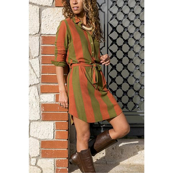 Striped V-Neck Casual Mini Dresses