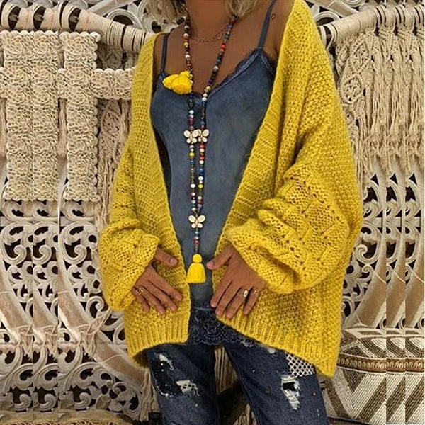 Loose Hollow-Out Knitting Cardigan Sweater