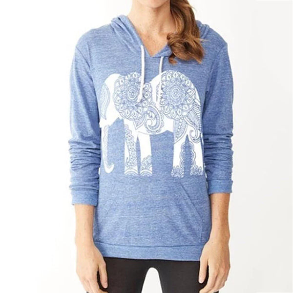 Long Sleeve Printed Animal Hooded Tops