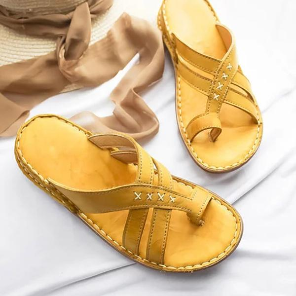 Low Heel Across Strap Slip-On Slippers