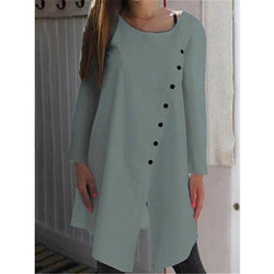 Asymmetrical Buttoned Solid Long Sleeve Shirts