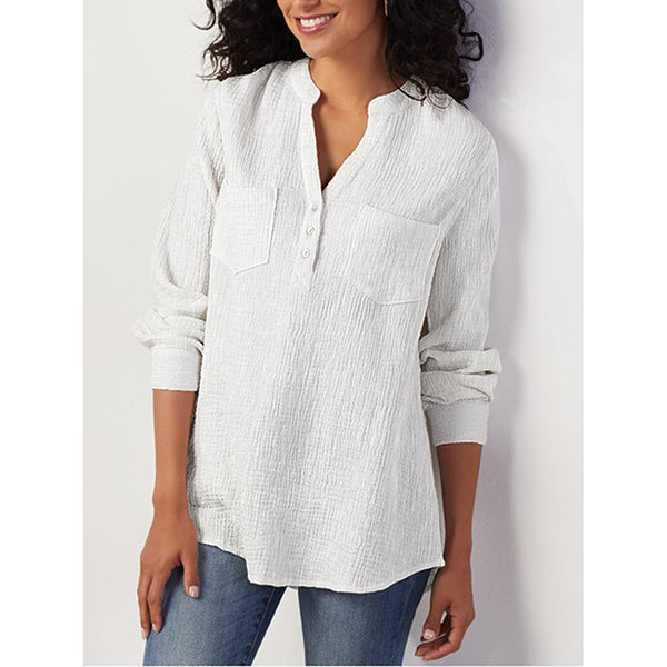 Plus Size Pocket Long Sleeve Solid V Neck Casual Tunic Blouse