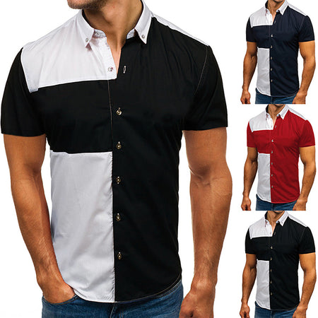 Men's Business Stitching Color Shirts